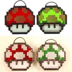 Stained Glass Mario Mushrooms Pixel Art by DarkeVitrum