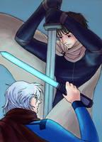 Zagi and Thor--duel by vassekocho