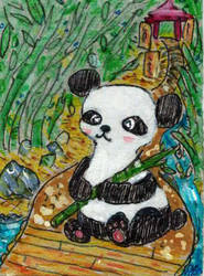 Panda And Temple Gardens by goatsarecute