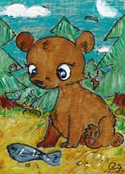 Bear And Fish by goatsarecute