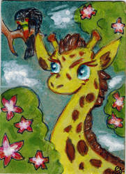Giraffe and friend by goatsarecute