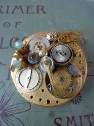 Clockworks Steampunk Brooch by bluepigdesigns