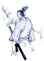 Miyamoto Musashi pen-sketch by normalfds