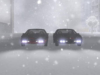 K.I.T.T. and Nicole in the Snow by MichaelKnight1982