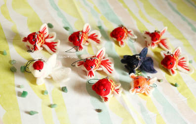 Cell Phone Strap of Felted Goldfish by demetyoubi
