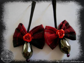 earrings boucles d'oreilles noeud tartan punky by midnightbreath