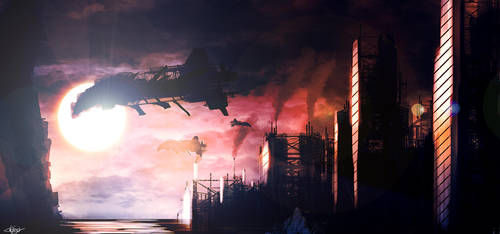 Industrial Sunset by Kiwi-the-One