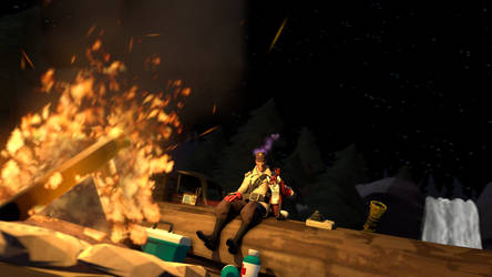 Two partnes at campfire (SFM) by eryk276
