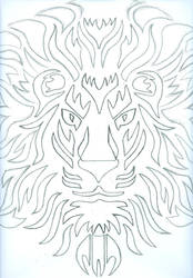 Lionface Sun Tribal design (wip) by angelface888