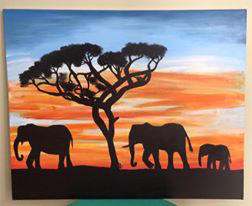 Elephant March Silhouette by Addy-Cat