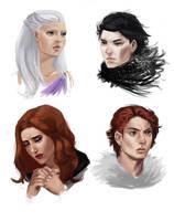 ASOIAF - Jon Snow, Daenerys, Robb and Sansa by Krissy-Vee