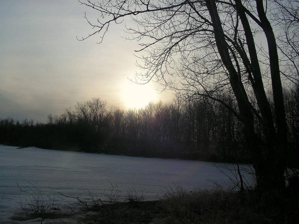 Pale Sunset on a Frozen Lake by JocelyneR