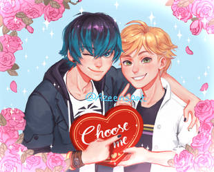 Luka and Adrien miraculous ladybug by DeerAzeen