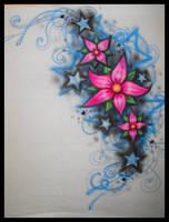 Airbrush- Heart-Star design by vampireheartagram27