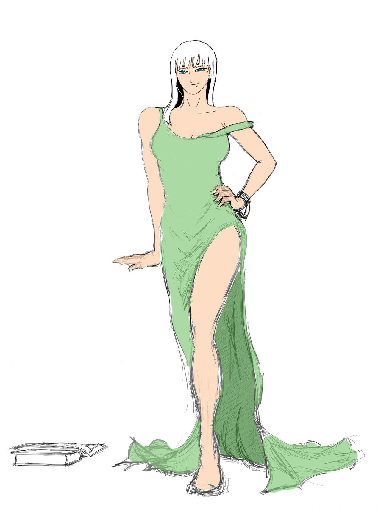 One Piece Nico Robin Green dress by geneforson