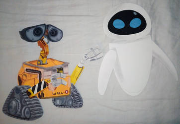 Paper Characters: Wall-e and EVE (Remake) by JustSomePainter11