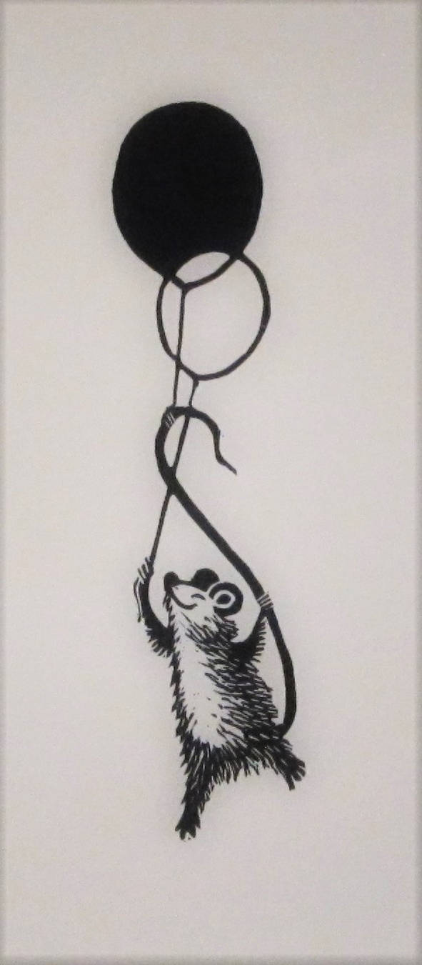 Mouse and balloons bookmark by cloutierj