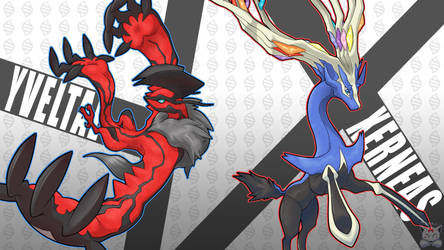 Xerneas and Yveltal by Neliorra