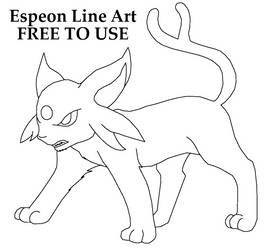 Free Angry Espeon Line Art by AshWolf-Forever