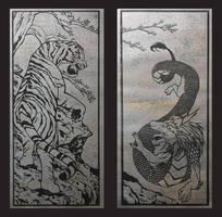 Tiger and Dragon Print-Gun Metal Foil by CrimsonWolf2016