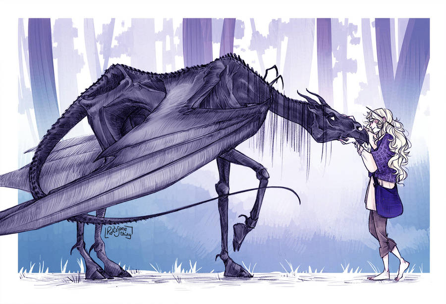 Luna Lovegood with a Thestral by RoItsSomething