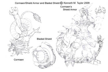 Asterion's-Cormaen and Shield by KenshinEien