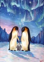 Emperor penguins by Aionka