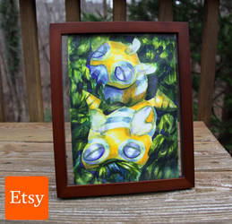 Framed Dunsparce Painting by TerribleSaturn