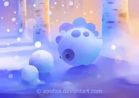 snow dino ( wallpaper ) by Apofiss