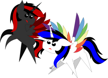 Shadow Shield Vs Rainbow Shield by Rainbow-Skywalker