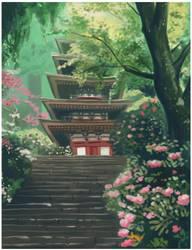 Japanese Pagoda: Practice by bilautaa
