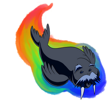 Rainbow Walrus by AniMerrill