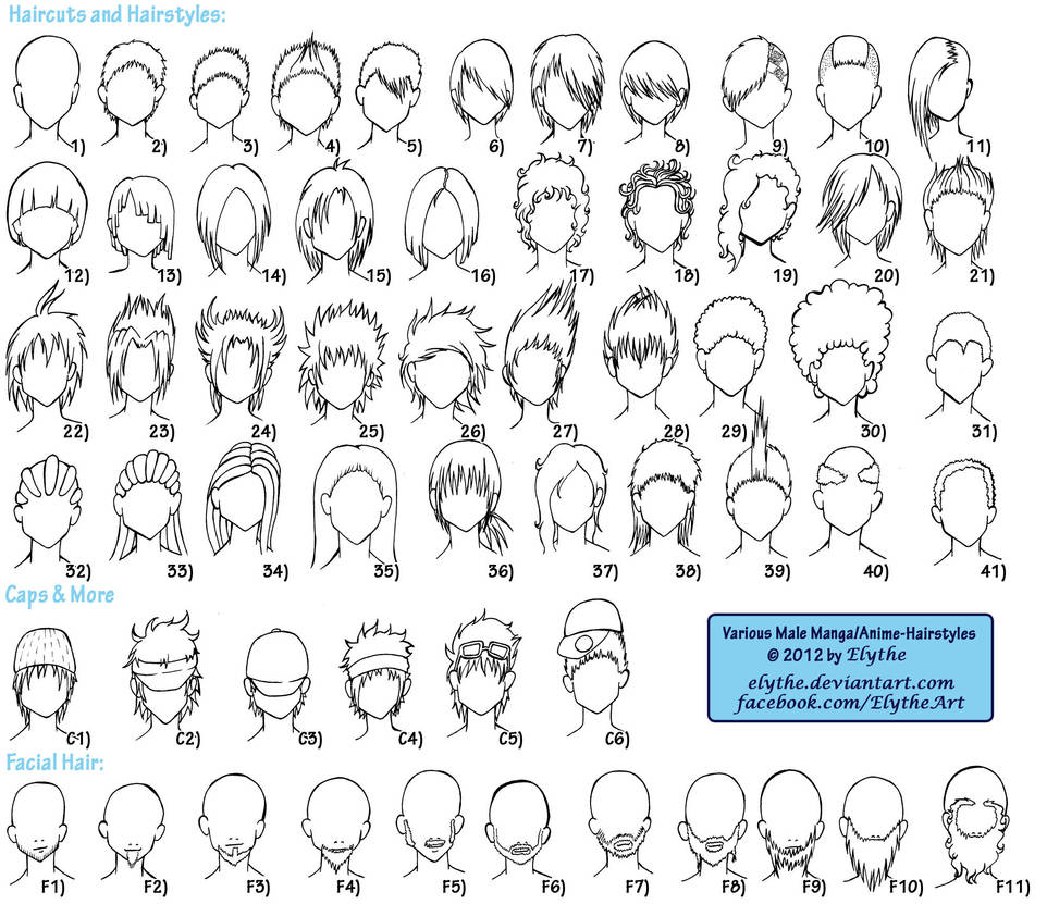 Various male anime manga hairstyles by elythe