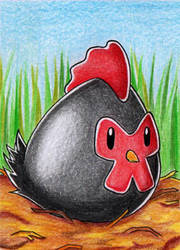 ACEO #142 - Silkie Chicken by Elythe