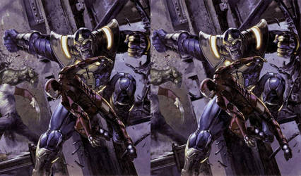 Civil War II Iron Man vs Thanos cross view by Fan2Relief3D
