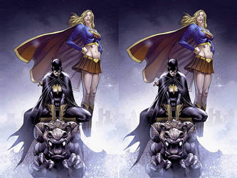 Batgirl and Supergirl Cross view 3D by Fan2Relief3D