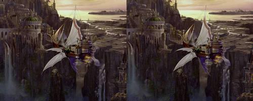 Flying Ship Cross View 3D by Fan2Relief3D