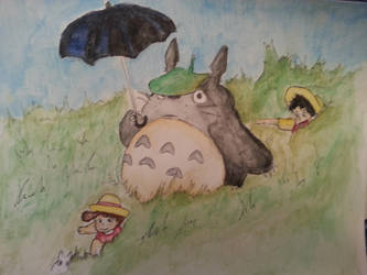 totoro watercolor by Joeadrianart