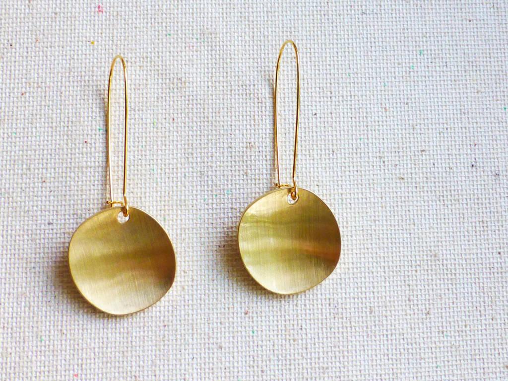 Gold Disc Kidney Ear Wire Earrings By Picklesjewelrybox