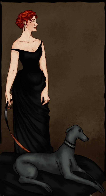 Lady with greyhound by JosieCarioca