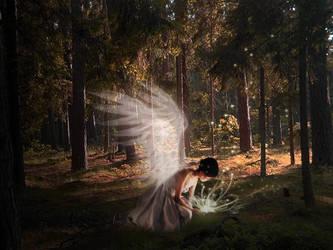 Angel in forest by finieramos