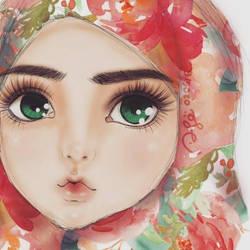 Pink Watercolor Hijab by finieramos