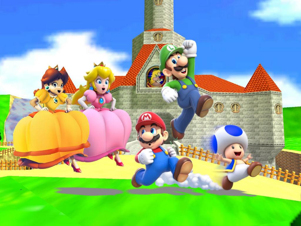 Mario Luigi Peach Daisy and Toad are Running by ShinRider ...