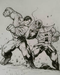 Hulk vs Thanos warm up sketch by kourmpamp