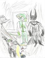 Batman and Arrow confront Hush (color) by multificionado