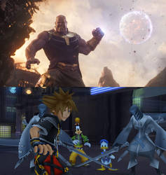Thanos Attacks Sora and Company by multificionado
