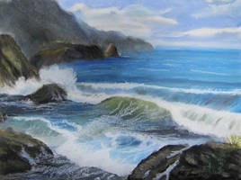 Rocky Beach Oil Pastel by TylersArtShack