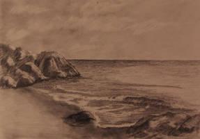 Rocky Beach Pencil Drawing by TylersArtShack
