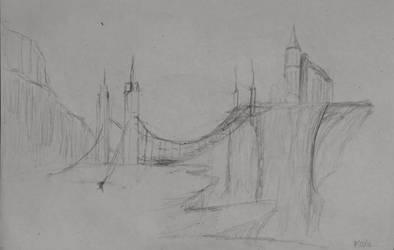 Sketch: Bridge to the Cliffs by TylersArtShack