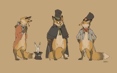 Three Fox in Frocks by Zethelius